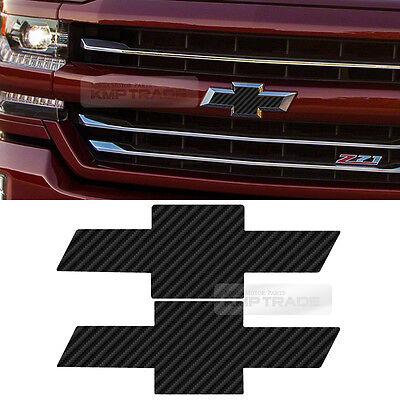 Front Rear Black Carbon Emblem Badge Decal Sticker For CHEVY 2014-2017 Silverado