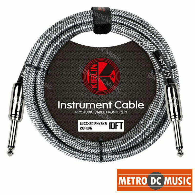 Kirlin 10ft Black Woven Guitar Bass Instrument Cord Cable 20AWG 1/4 Free Tie NEW