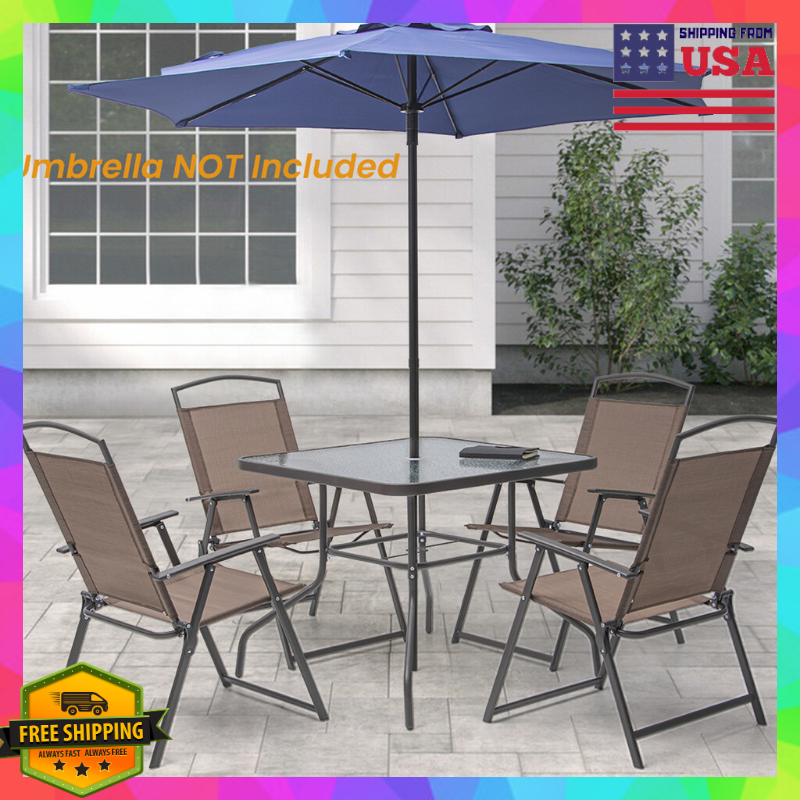 Garden Furniture - Outdoor Patio Furniture Table And 4 Folding Chairs Dining Set Garden/Pool/Yard