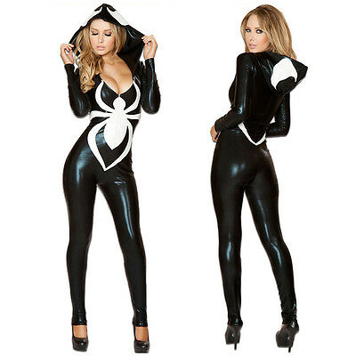 Sexy Black Spider Jumpsuit Halloween Costumes For Women Party Hooded Zentai Suit - Halloween Costumes For Black Women