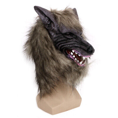 Halloween Scary Latex Animal Wolf Head With Hair Mask Fancy Dress Costume Party - Scary Wolf Costume