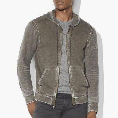 John Varvatos Star USA Men's Zip Front Hoodie Burnout Fabric Army Green 2XL Burnout Zip Hoodie