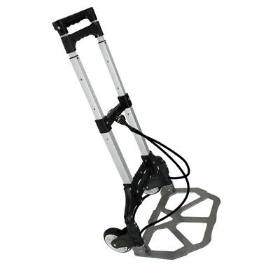 Black Aluminium Luggage Cart Folding Dolly Push Truck Hand Collapsible New
