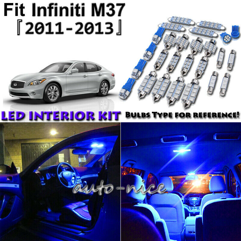 9x Blue LED Lights Interior Package Deal For 2011 2012 2013 Infiniti M37