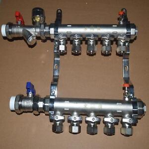 5-Branch PEX Radiant Floor Heating Manifold Set