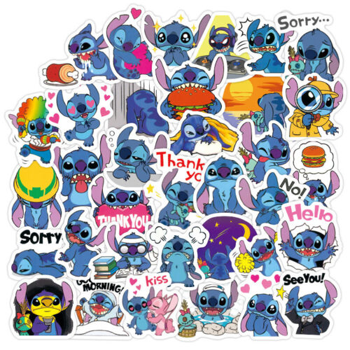 Home Decoration - 50Pcs Cartoon Lilo Stitch Stickers Pack Laptop Luggage Water Bottle Decals Cute