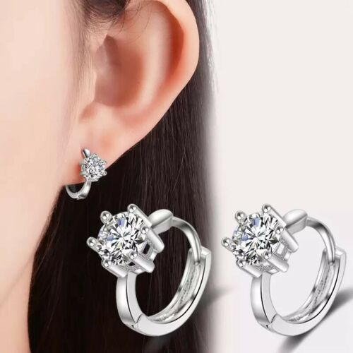 Gold/ Silver Plated Cubic Zirconia Solitaire Hoop Huggie Earrings Men Women E32 Earrings