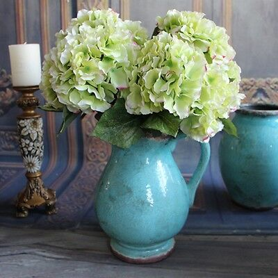 5 Heads Green Artificial Silk Hydrangea Bouquet Fake Flowers Home Party Decor