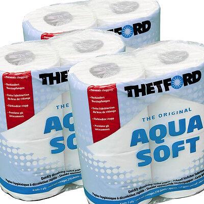 12 x Thetford Aqua Soft Toilettenpapier Rollen Camping WC Papier Toipa Wohnwagen