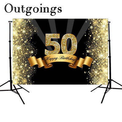 Glitter Black Gold 50th Birthday Backdrop Photography Background Photo Studio
