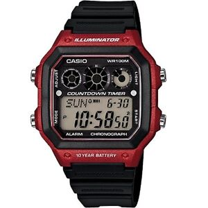 Casio AE-1300WH-4AV Red Illuminator Chronograph Digital Watch With Retail Box
