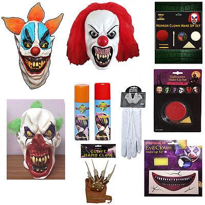 IT Clown Stuff Women Mask,Gloves,Haircolour,Makeup Halloween Horror Dress Party - Party Stuff Halloween