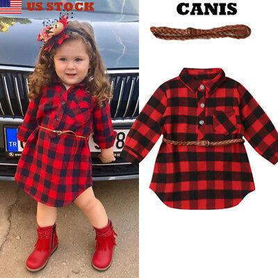 2Pcs Plaid Toddler Kids Baby Girl Outfit Clothes T Shirt Top Dress+Belt - Childs Tartan Dress