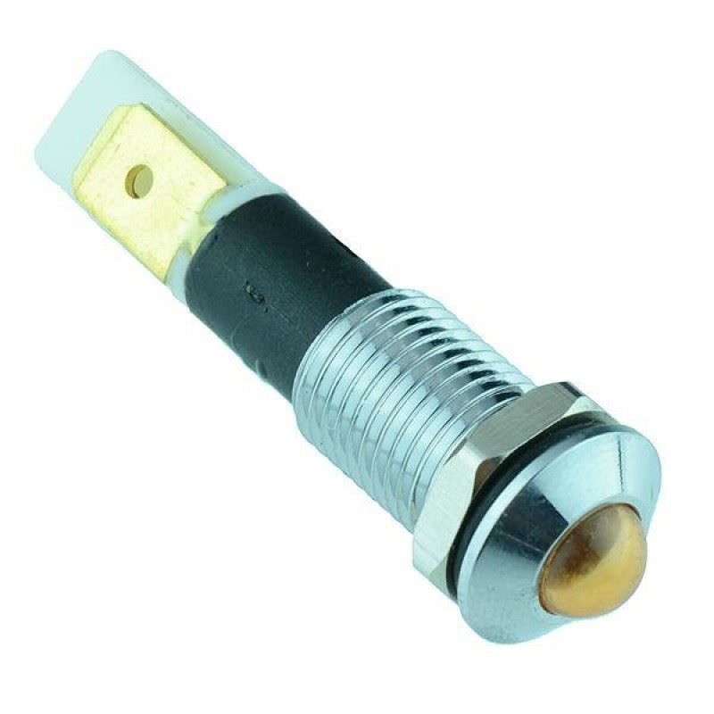 5 x Yellow LED 10mm Metal Panel Indicator 12V