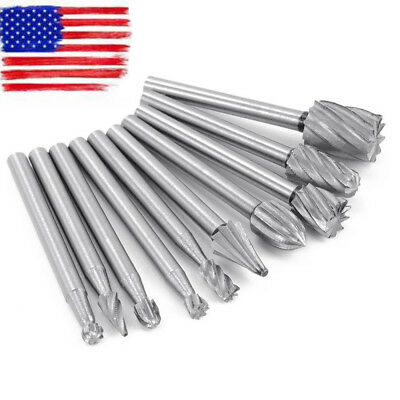 10pcs Solid Carbide Burrs Double Cut Set For Rotary Drill Die Grinder Carving