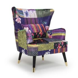 Fabric Patchwork Victoria Accent Wingback Chair selling at £175 This is £249.99 to buy