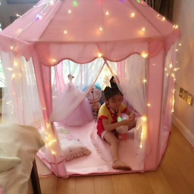 Girls Pink Princess Castle Cute Playhouse for Children Kid Play Tent Outdoor Toy