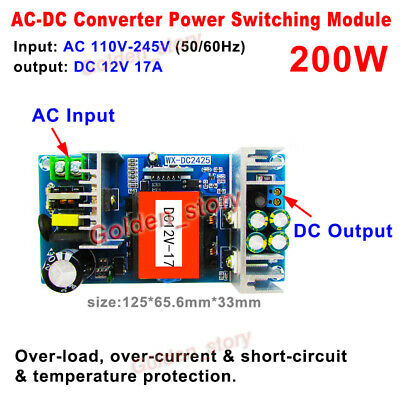 Ac-dc Converter Ac110v 220v 230v To 12v 17a Isolated Power Switching Transformer