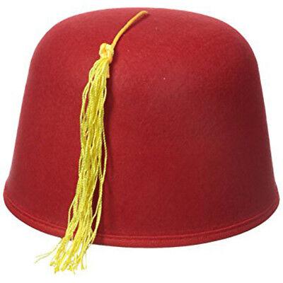 Red Wool Felt Fez Hat Shriner Turkish Moroccan turkish Army Military Costume Cap