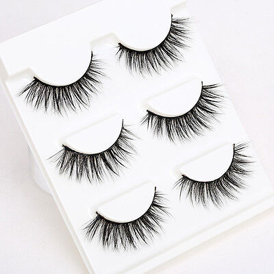 3 Pairs Black 3D Cross False Eyelashes Long Thick Natural Fake Eye Lashes