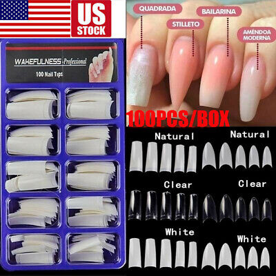 100PCS Fake Nails French Stiletto False Half Nail Art Tips Acrylic UV Gel USA Acrylic False Nail