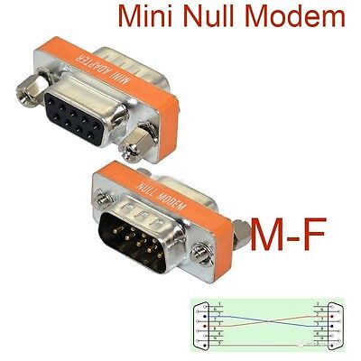 Male Null Modem Adapter (High Quality Mini Null Modem DB9 Female to DB9 Male plug Adapter Gender)