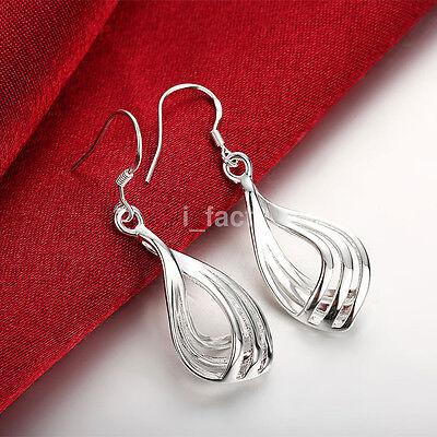Fancy Elegant Night Ear Decor Three Line Ripple Earrings Hoop Dangle Studs Women