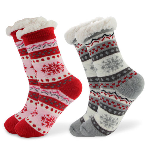 Christmas Womens Thick Knit Sherpa Lined Cozy Thermal Fuzzy Socks with Grippers Clothing, Shoes & Accessories