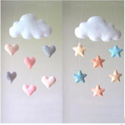 Cute Cloud Love Heart Star Baby Nursery Mobile Wall Hanging Decor Shower Gift