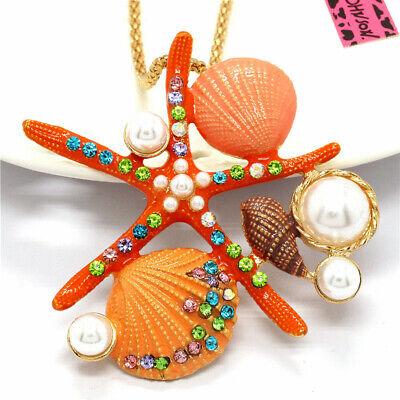 New Betsey Johnson Cute Orange Enamel Starfish Shell Pearl Crystal Necklace Orange Shell Necklace