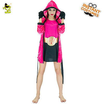 Female Boxer Costumes (Knock Out Girl Female Boxer Boxing Fancy Dress Up Halloween Adult)