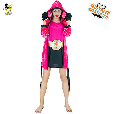 Knock Out Girl Female Boxer Boxing Fancy Dress Up Halloween Adult Costume (Female Boxer Halloween Costume)