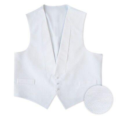 White Cotton Pique Tuxedo Vest Self Tie Bow Tall M L Xl X...