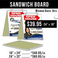 OPEN HOUSE Real Estate signs Sandwich Boards / Lawn Signs / Larg