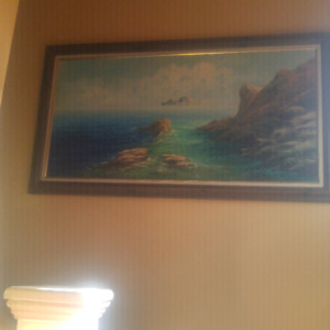 Beautiful Rocky Ocean Oil Painting