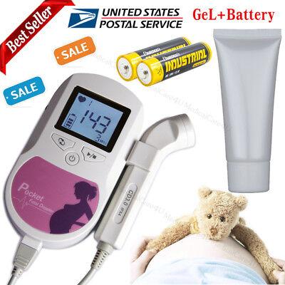 Ultrasound Fetal Dopplerprenatal Heart Baby Sound Monitor3mhzgelbatteryusa
