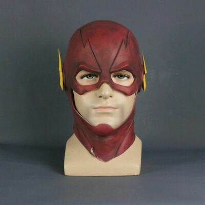 Cheap Full Face Halloween Masks (The Flash Mask Cosplay Barry Allen Full Face Latex Mask Adult Halloween)