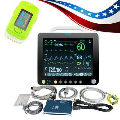 Portable Medical 6-paras Vital Signs Patient Monitor Alarm Cardiac Machine Case