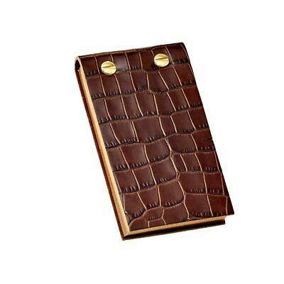 Levenger Croc Embossed Leather Flip Note Pad- Brown