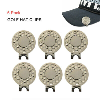Golf Magnetic Hat & Visor Clip For Ball Marker Lightweight Metal 6 Pack NEW Magnetic Ball Marker