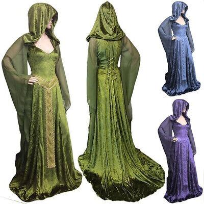 Mittelalterliche Renaissance Frauen Hexe mit Kapuze Langarm Retro Kleid (Mittelalterliche Hexe Kostüme)