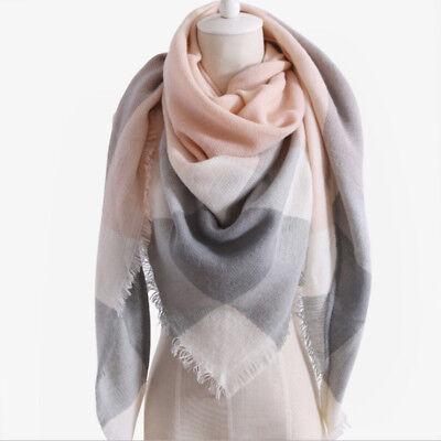 Womens Triangle Shawl Wrap Scarf Faux Cashmere Soft Plaid Tartan Large (Faux Cashmere)