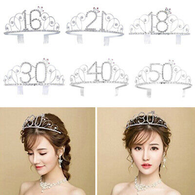 Women Tiara Rhinestone Crystal Princess Hair Wear Head Band Birthday Gift Crown - Tiara Head Band