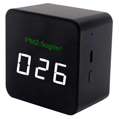Mini Pm2.5 Detector Air Quality Tester Monitor Meter Rechargeable Black Us New