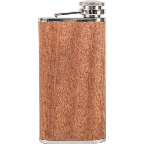 FLASK 9oz Real SAPELE WOOD Wrap Attached Screw Cap Hip Pocket Liquor Bar Alcohol