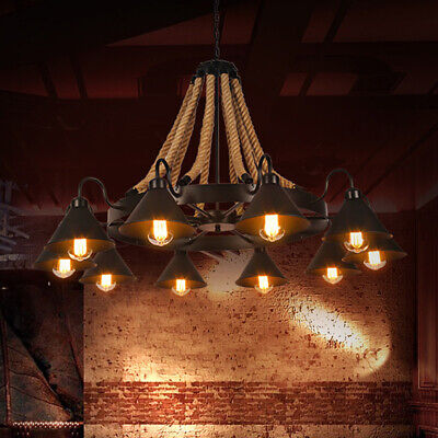 Industrial 43'' W Large Rope Chandelier Metal Shade Pendant Ceiling Fixture Lamp Large Ceiling Fixture