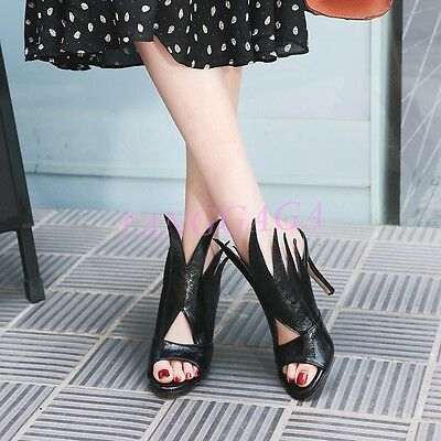 Lady Unique Design High Heel Muls Slingbacks Peep Toe Banquet Dance Pumps Shoes