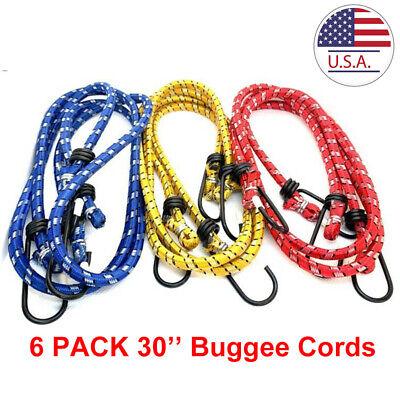 6pcs 30 Long Bungee Cord Strap Heavy Duty Tarp Bungie Elastic Whook 3 Colors
