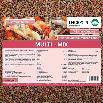 (€3,99/Kg)Koifutter Multi-Mix, 5 Kg 3 mm mit Spirulina, Astaxanthin, Weizenkeime