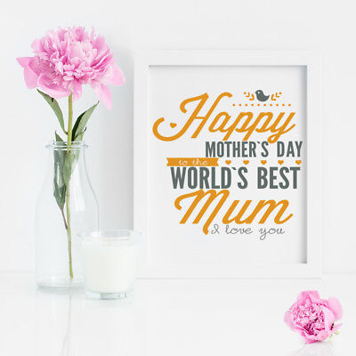 Happy Mothers Day Best Mum I Love You Vinyl Decal Sticker For